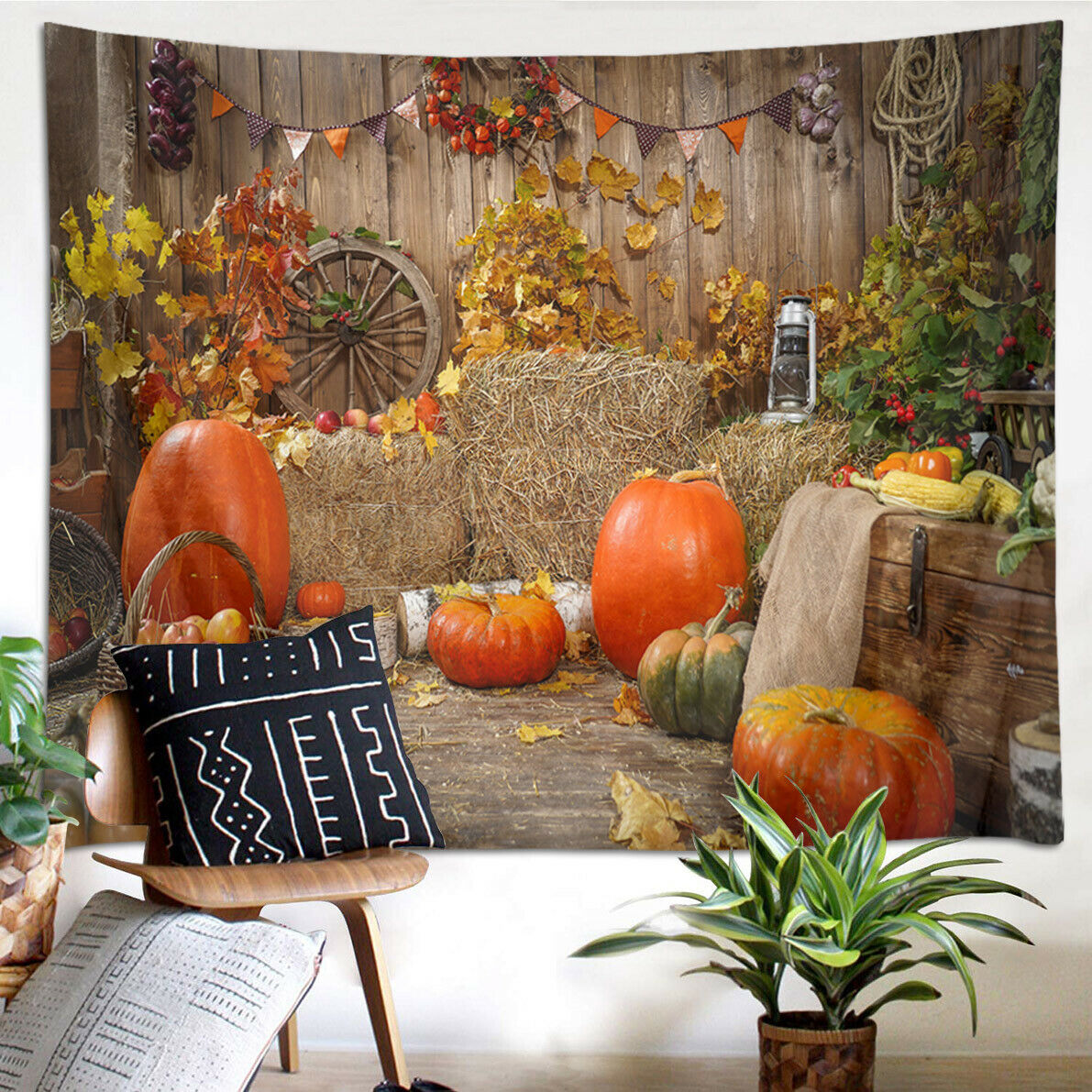 Thanksgiving Decor Autumn Hay Pumpkins Tapestry Wall Hanging Living Room Bedroom
