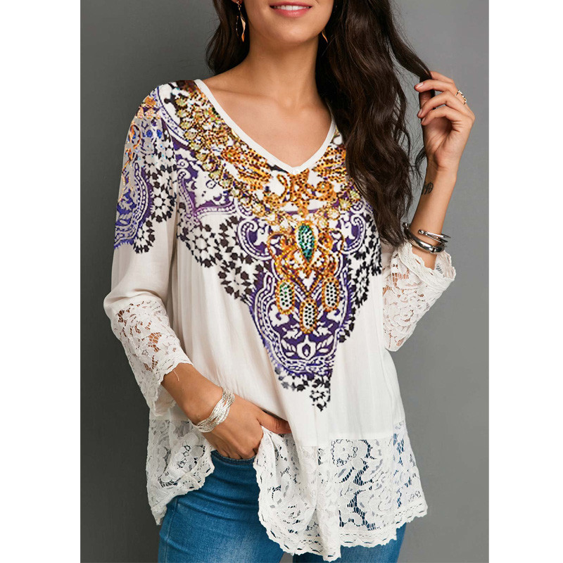 2019 New Fashion Women Tops Vintage Lace Patchwork Floral Print Three Quarter Sleeve White Blouse