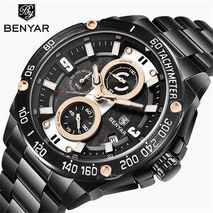 Image 1 - BENYAR メンズ腕時計ゴールド腕時計男性クォーツ時計軍 Wriswatch メンズトップブランドの高級クロノグラフ時計レロジオ Masculino