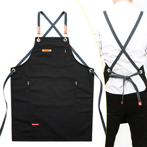 2020 Fashion Unisex Work Apron For Men Canvas Black apron Bib Adjustable cooking kitchen aprons for woman with Tool pockets(China)