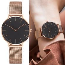 Fashion Women Watches Rose Gold Stainless Steel Quartz Wrist
