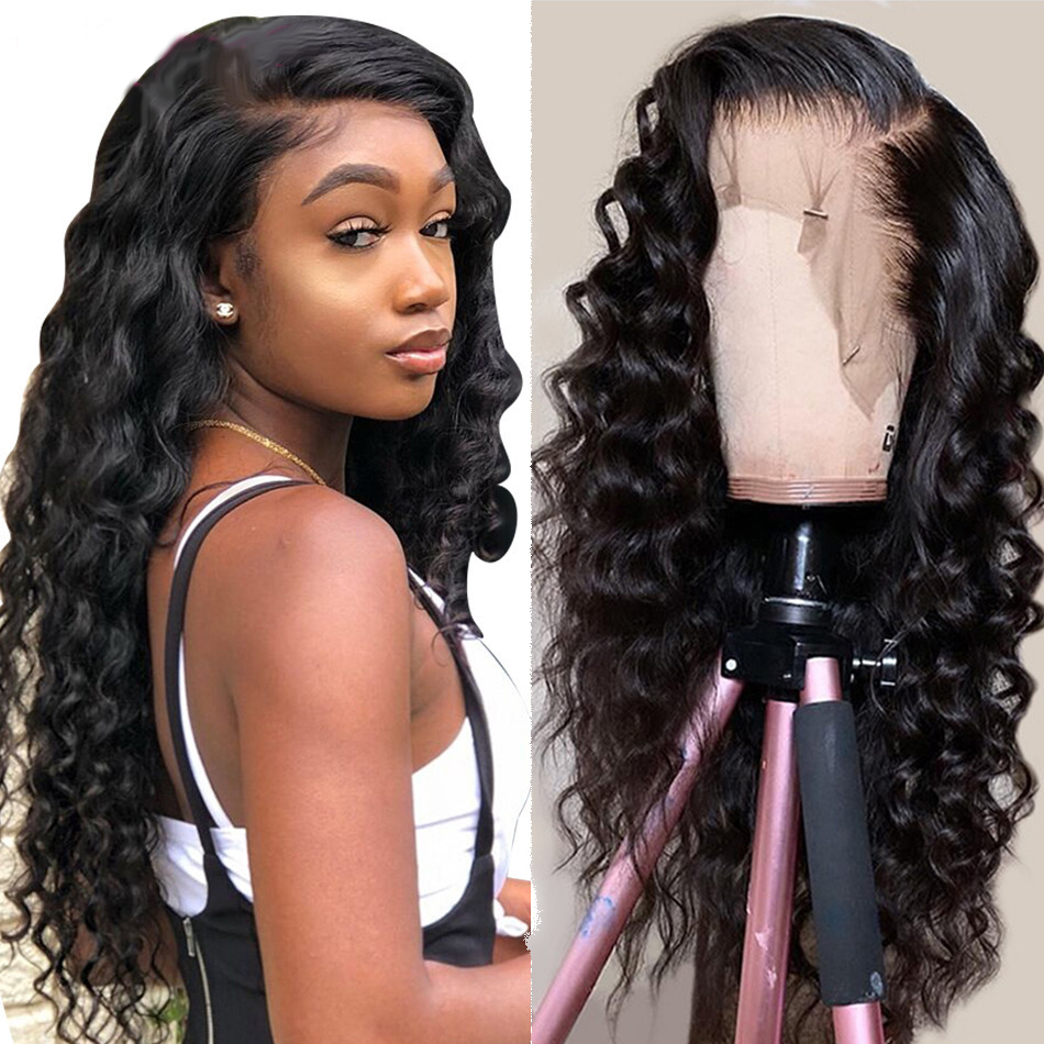 Loose Deep Wave Lace Front Human Hair Wigs Pre Plucked 8-26 13x4 150% Peruvian Remy Hair Lace Frontal Wigs For Black Women