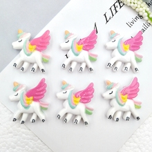 Hair-Bows-Accessories Unicorn Back-Cabochons Flat Resin Kawaii Embellishments-Decor Flying-Horse