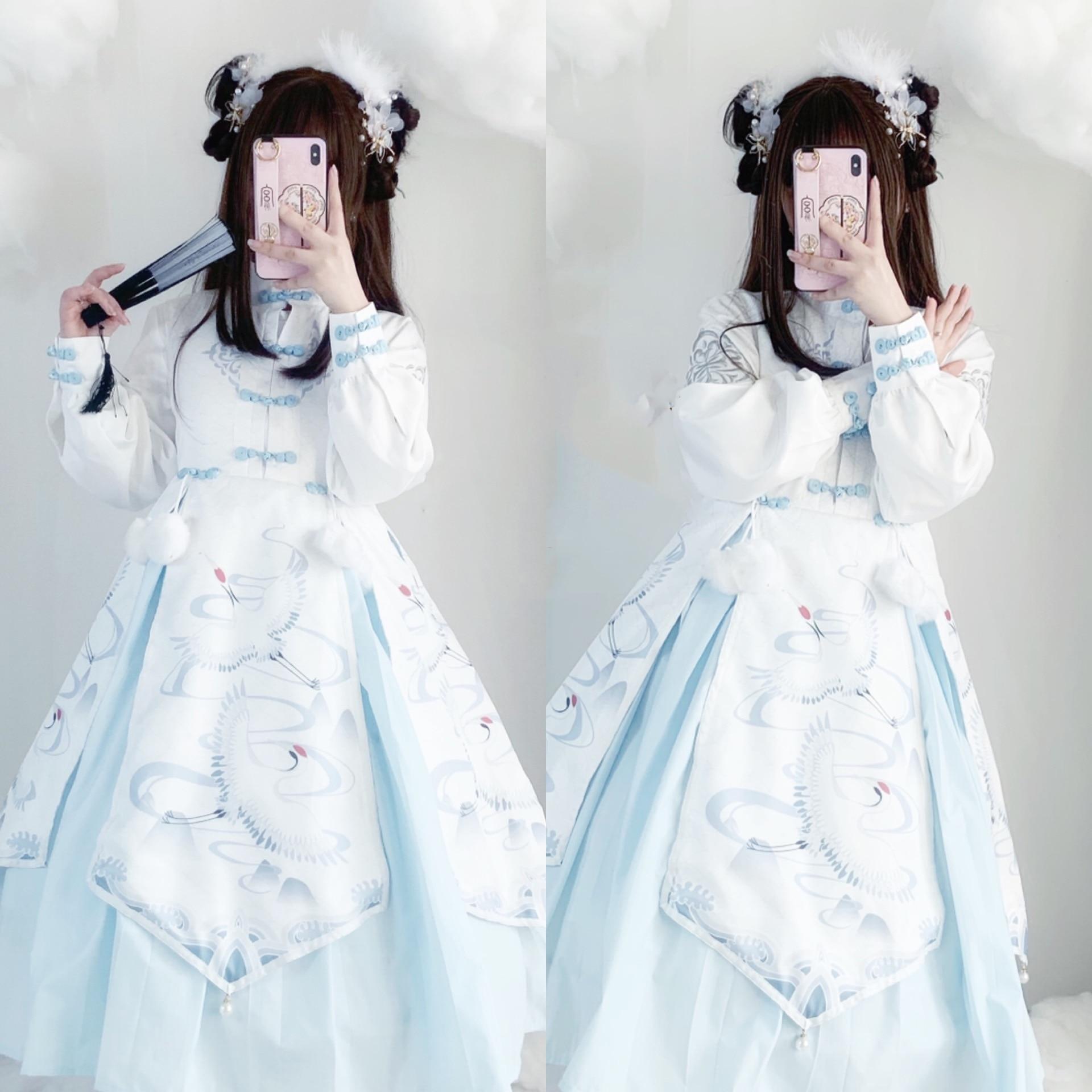 Winter Women Chinese Style Han Element Crane Sleeveless Jsk Dress+ Young Girl Sweet Blouse Two Piece Sets Princess Dress Cosplay