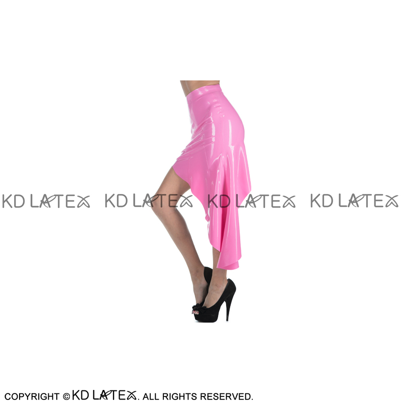 Metallic Pink Sexy Latex Skirts With Irregularly Shaped Without Zipper Rubber Skirt Bottoms DQ-0046