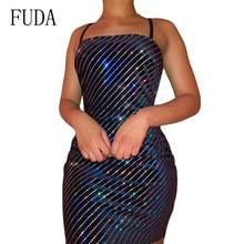 FUDA Women Mini Spaghetti Strap Backless Sexy Dress Summer Bandage Black Club Party Elegant Bodycon Dresses Femme Vestidos