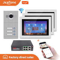 WIFI IP Video Door Phone Intercom System Video Doorbell 7'' Touch Screen for 3 Floors Apartment/8 Zone Alarm Support Smart Phone
