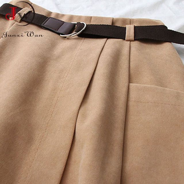 Women Casual Skirts 2021 Spring And Autumn Solid High Waist Irregular Pockets Midi Skirts Fashion Simple Elegant Saia Faldas 5