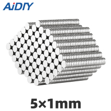 AIDIY 50/100pcs 5mm x 1mm N35 powerful neodymium industrial round magnet Mini small magnets Disc 5 *