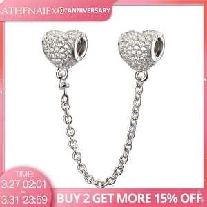 Браслет ATHENAIE из стерлингового серебра 925 пробы с фианитами, безопасная цепь в форме сердца, подходит для всех европейских браслетов, оригина...