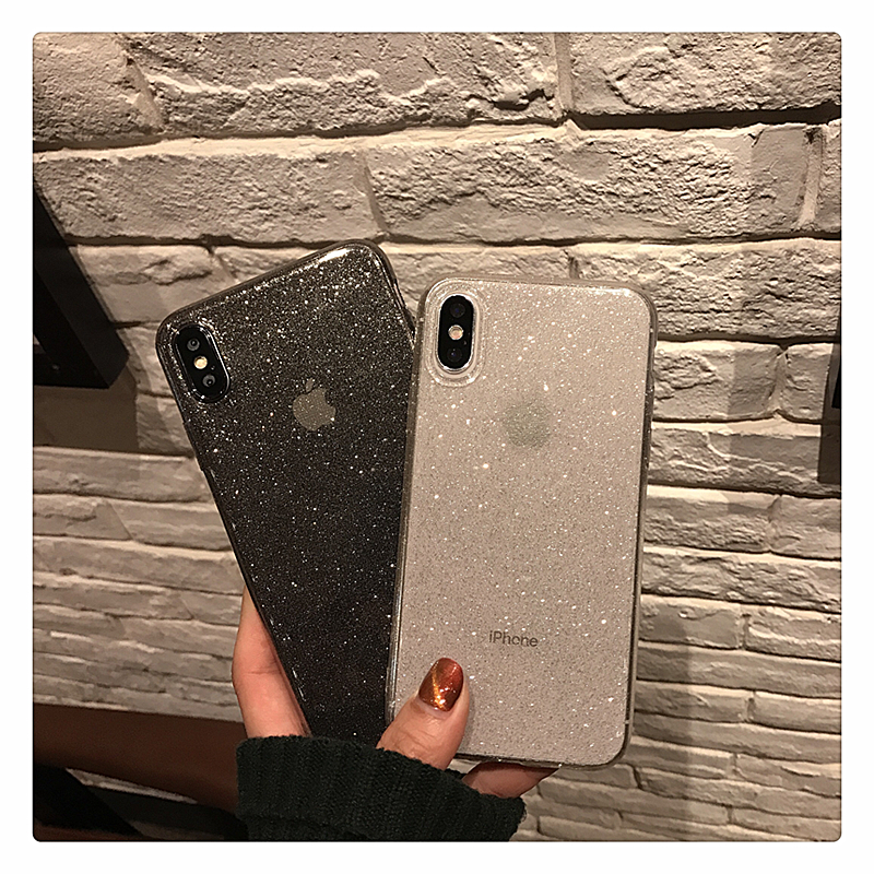 H445850bb05f0469db6a65617a6df95b2V - Shining Glitter Powder Black Phone Case For iPhone 11 Pro XR XS Max 8 7 Plus 6S Transparent Soft TPU Shockproof Bling Back Cover