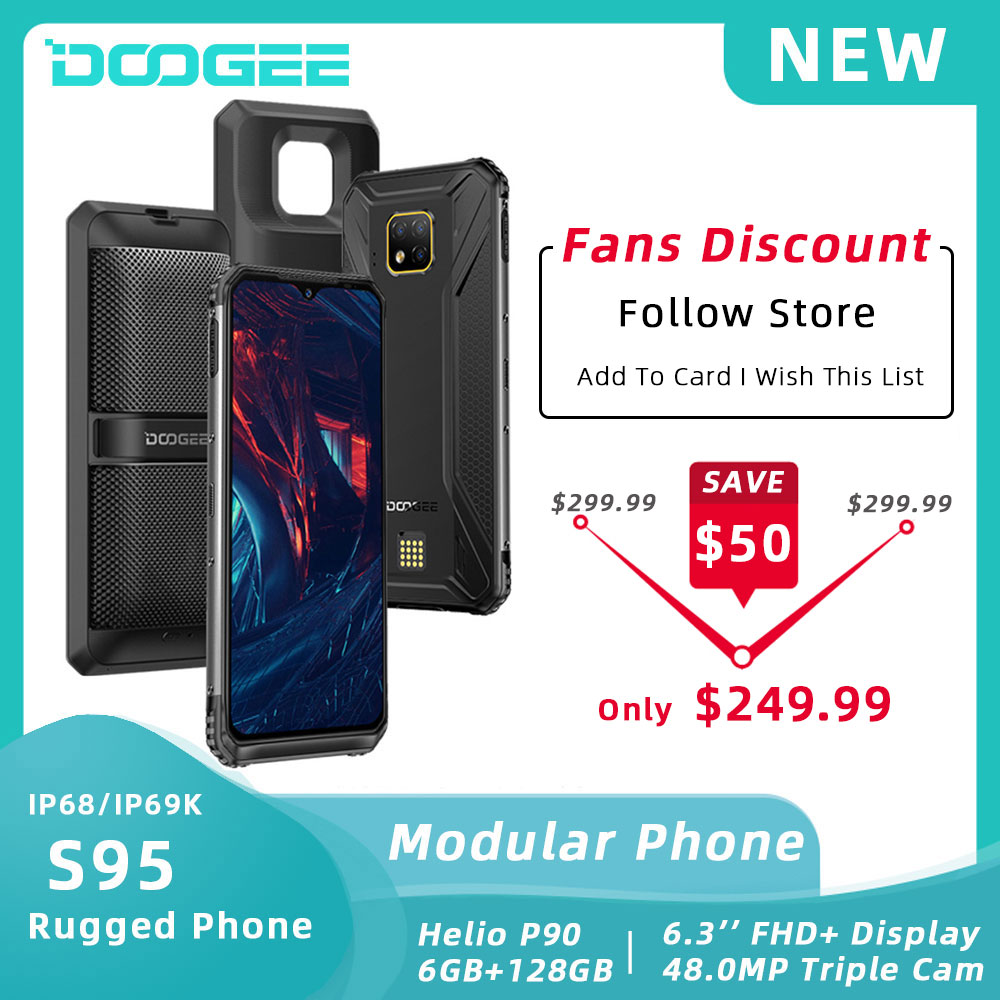 DOOGEE S95 IP68 Modular Rugged Mobile Phone 6.3inch Display Helio P90 Octa Core 6GB 128GB 48MP Triple Camera Android 9.0 5150mAh(China)