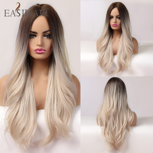 EASIHAIR Long Brown Blonde Ombre Synthetic Hair Wigs for Women Middle Part Wavy Cosplay Wigs Heat Resistant Natural Hair Wig