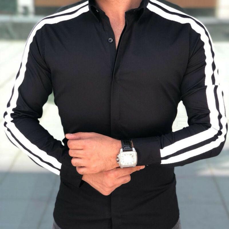 Fashion Blouses Plus Size Long Sleeve Luxury Slim Fit Male Striped Stylish Casual Shirt Men's Tops Sweatshirts Loose Blouse