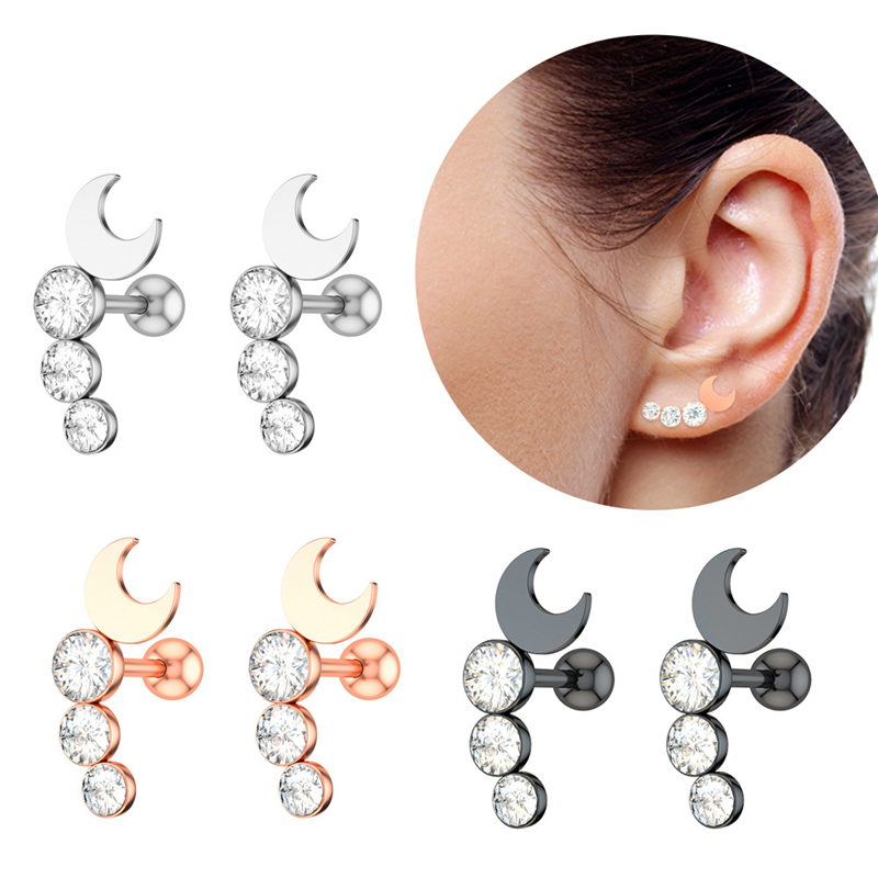 1Pc Stainless Steel Moon Zircon Cartilage Helix Labret Tragus Screw Back Earring Piercing Jewelry Body Jewelry for Women