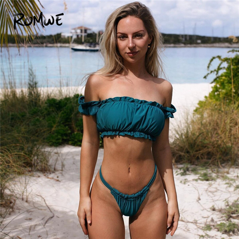 Romwe Sport Lettuce Trim And Strappy Thong Bikini Set Summer Wireless Off The Shoulder Sexy Bathing Suit Women High Cut Swimsuit