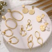 IPARAM-pendientes colgantes Vintage de Metal dorado para mujer, aretes con colgante geométrico de aleación Punk, joyería de moda 2020