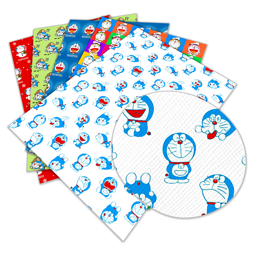 New Japan Doraemon Anime Cartoon Pattern  A4 30 Cm X 22cm Printed Synthetic Faux Leather for DIY Bag Material Fabric L236 L237