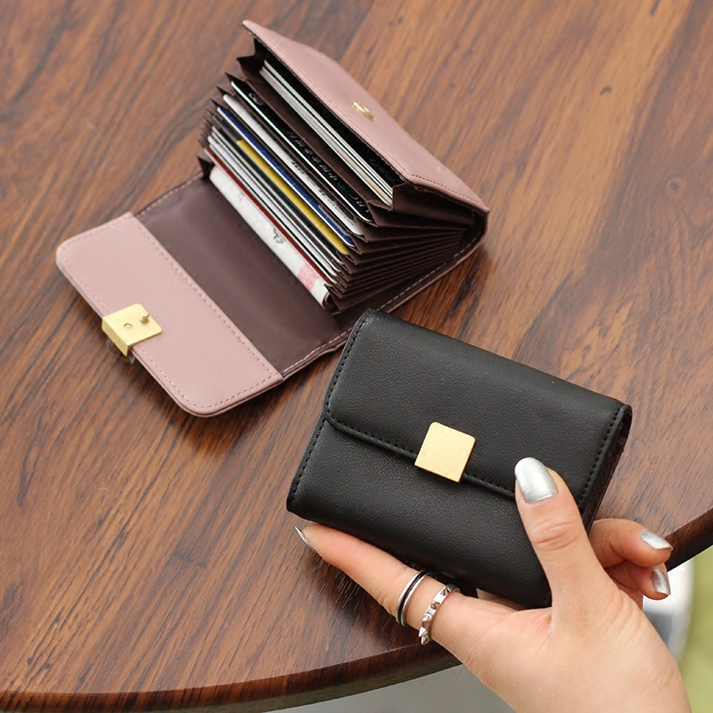 Women's Multi-card Bit Cute Leather Card Bag Ladies Simple Mini Card Clip Small Organ Card Bag Card Wallet Card Holder Wallet