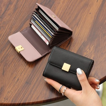 Womens Multi-card Bit Cute Leather Card Bag Ladies Simple Mini Clip Small Organ Wallet Holder