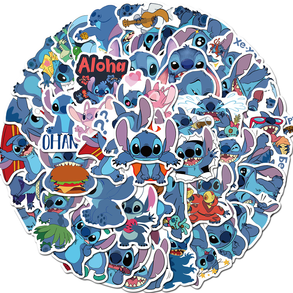 55PCS Cartoon Stickers Stitch Stickers Graffiti Punk Waterproof Decal Laptop Motorcycle Luggage Snowboard Car Sticker