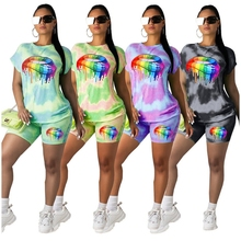 Colorful Lips Printed Two Piece Set Tie Dye Gradient Color Activewear Conjunto Feminino Short E Blusa Casual Playsuits Loose