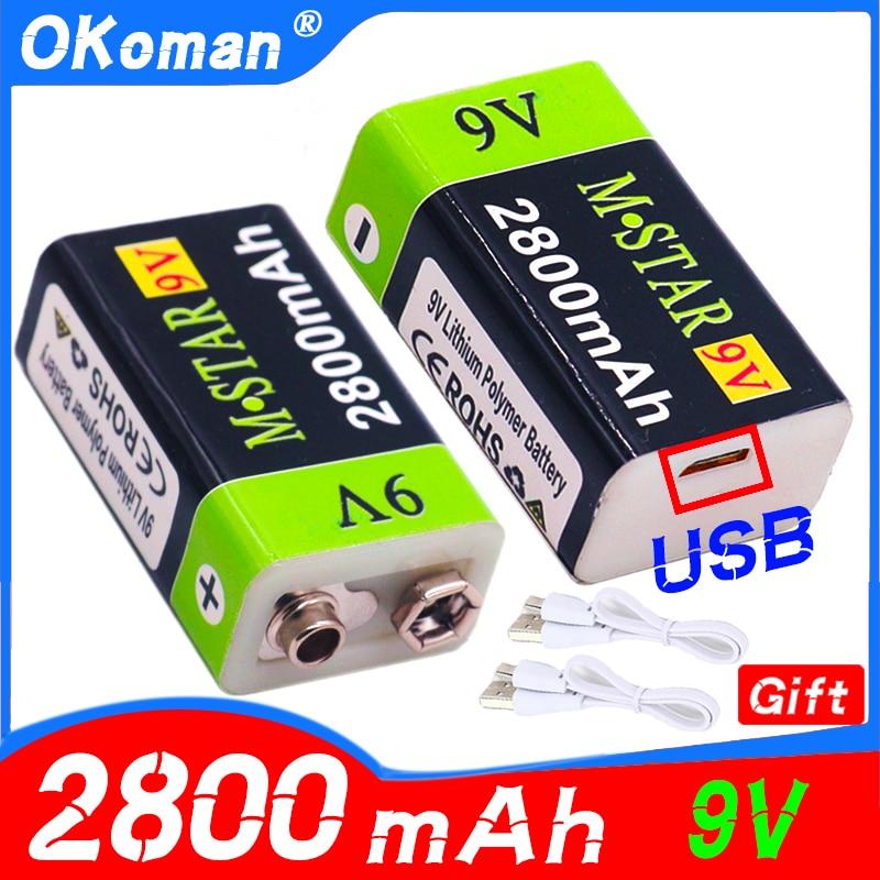 Высокая емкость USB Батарея 9V 2800 мА/ч, литий-ионный аккумулятор Перезаряжаемые Батарея USB литиевая батарея Батарея для игрушка дистанционног...