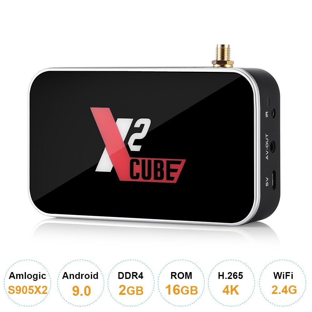 Ugoos X2cube Smart Android 9.0 TV Box Amlogic S905X2 2GB DDR4 16GB ROM décodeur 2.4G/5G WiFi 1000M RJ45 4K HD lecteur multimédia