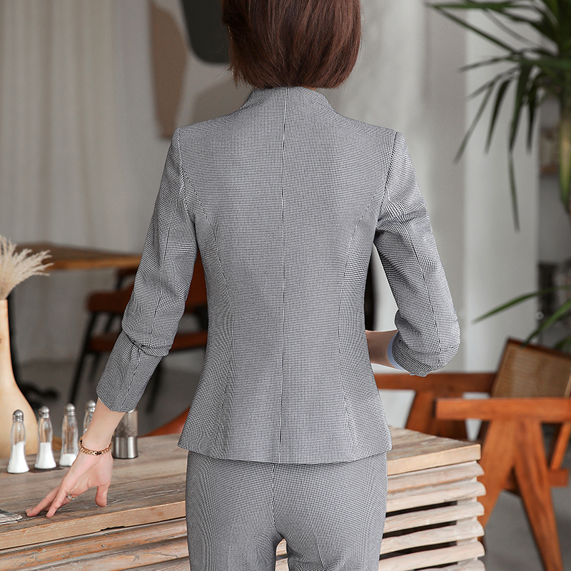 Lenshin High-quality 2 Piece Set Houndstooth Formal Pant Suit Blazer Office Lady Design Women Plaid Jacket and Full-Length Pant 20
