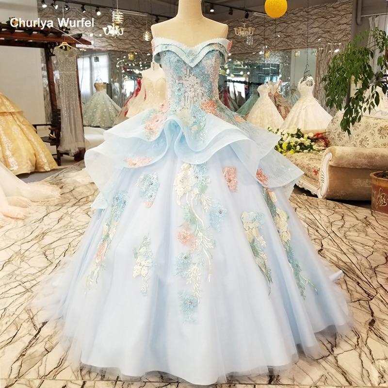 Ls7115 Color Flowers Light Blue Beauty Evening Dress Off Shoulder