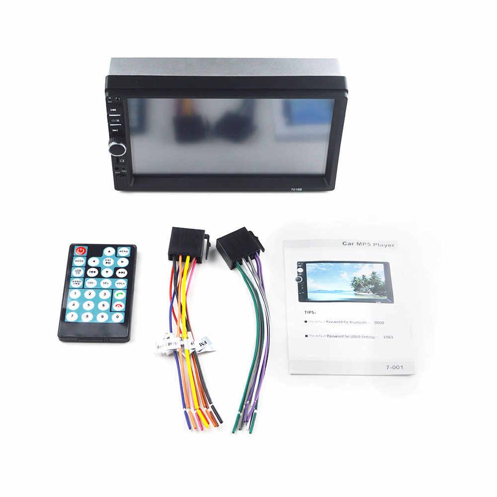 """Autoradio 2 din magnetofon kasetowy Radio samochodowe HD 7 """"7018B ekran dotykowy odbiornik Audio Bluetooth do samochodu kamera tylna MP5 odtwarzacz multimedialny"""