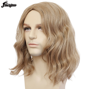 Image 3 - Ebingoo Captain Marvel High Temperature Fiber Brown Medium Length Body Wave Synthetic Cosplay Wigs Middle Part for Men Custome