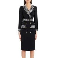 Blazer Dress Office Ladies Elegant Pencil Midi Knee Length Dresses Women Slim Leopard Double Breasted Work Wear Female Clothes