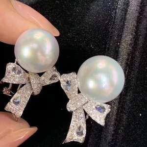 Женские серьги-гвоздики из чистого серебра 925 пробы D109, круглые серьги-гвоздики с жемчугом белого цвета 9-10 мм