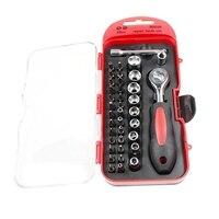 BMBY 38Pcs cr v 1/4 Polegada chave de soquete da catraca conjunto chave de fenda conjunto kit para casa kit de ferramentas multifunções|Conjuntos ferramenta manual| |  -