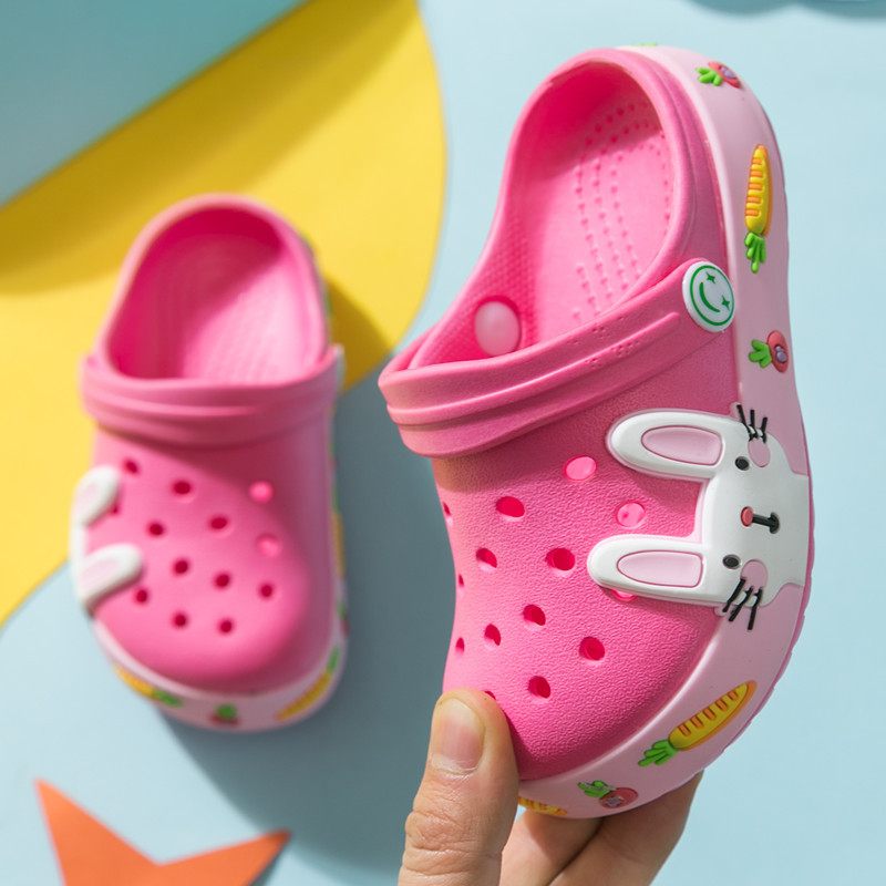 New Summer Kids Croc Shoes For Boys Girls Rabbit Light Non Slip Children Garden Shoes Toddler Indoor Home Beach Slippers Sandals