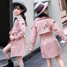 Toddler Girl Trench Coat Spring Autumn Childrens Pink Floral Long Windbreaker Coats Baby Kids Outwear Windproof Jackets Clothes