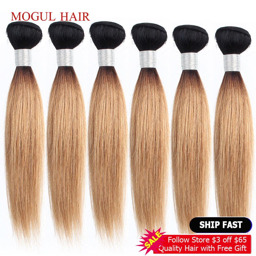MOGUL HAIR 4/6 Bundles 50g/pc 10-16 Inch 1B 27 Dark Root Honey Blonde Ombre Peruvian Straight Non Remy Human Hair Weave