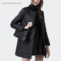 Women Winter Long Black Coat White Duck Down Jackets Warm Thicken Lightly Plus Size Top Fashion Outwear Thigh Length Down Coats