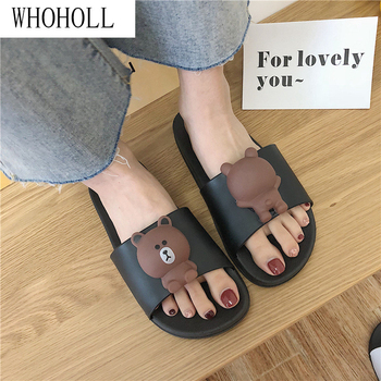 WHOHOLL Women Slippers Cute Cartoon Bear Sandals Summer Fashion Slip On Beach Flip Flops Indoor Bathroom Flat Slides
