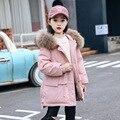 -30 grad Mädchen Winter Jacke Dicke Warme Mädchen Unten Parkas Ente Unten Füllung Mit Kapuze Kinder Schneeanzug Echtpelz Kinder outwear Mantel