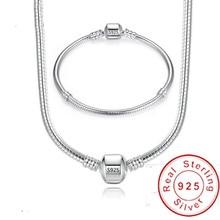 Handmade Silver 925 Bracelet Set Luxury Fine 3mm Soft/Smooth Snake Chain DIY Beads/Charms Basis Bracelet&Bangle 16-23CM