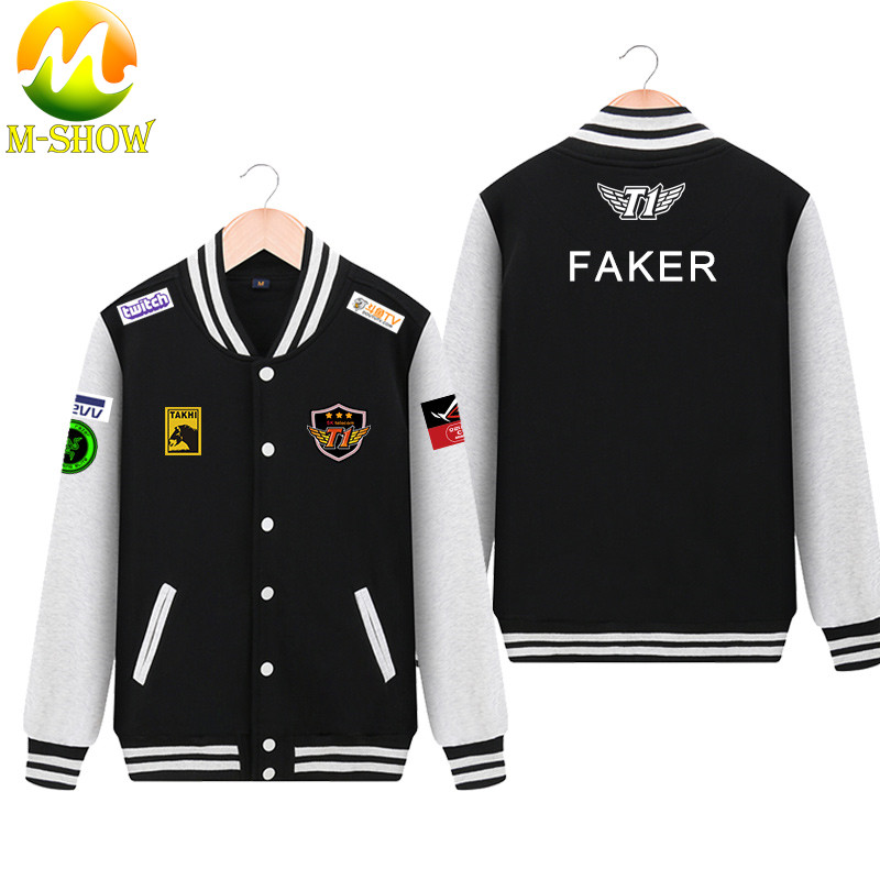 Skt Jacket  Faker Coat Men Hoodies Team Skt T1 Faker Jersey Zipper Cotton Wolf Bang Uniform Game LOL Jersey