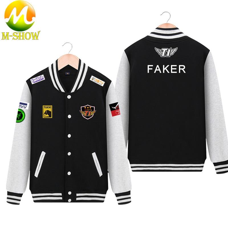 Skt Jacket  Faker Coat Men Hoodies Team Skt T1 Faker Jersey Zipper Cotton Wolf Bang Uniform Game LOL Jersey