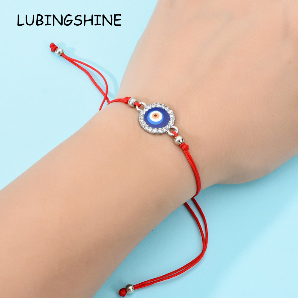 60pc/lot Blue Evil Eye Charms Braided Bracelet for Women Men Adjustable Lucky Red Rope String Rhinestones Wristband Jewelry