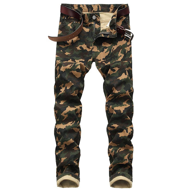 Mcikkny Men's Fashion Camouflage Denim Trousers Slim Fit Straight Jeans Pants For Male Military Style Size 28-42