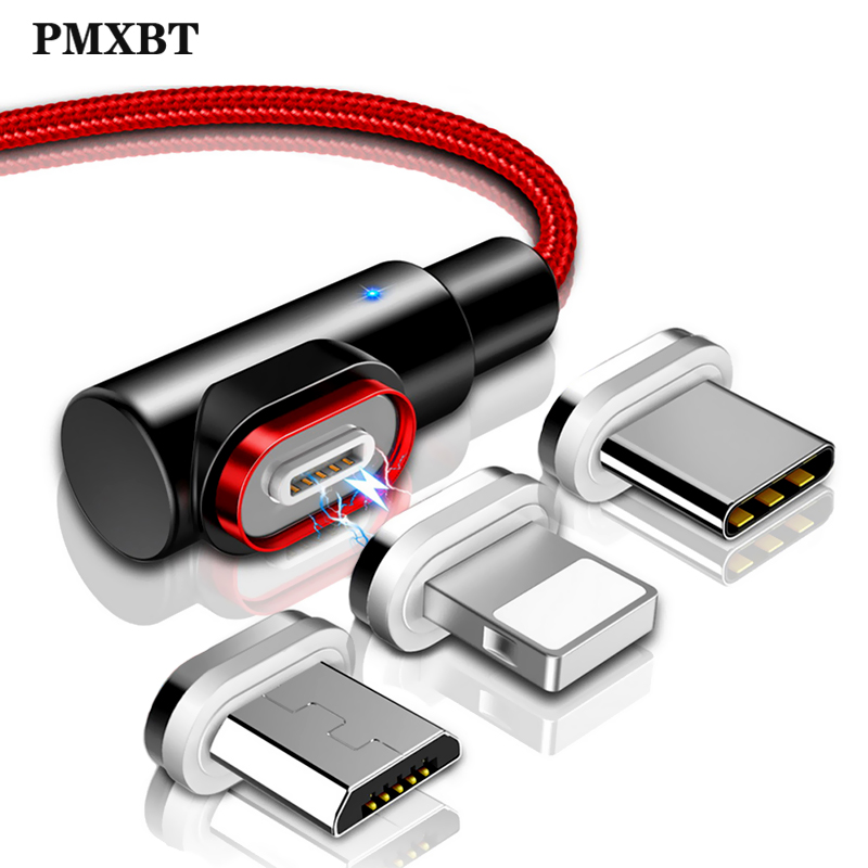 Magnetic USB Charging Cable 90 Degree 3A Fast Charge Micro USB Type C Phone Charger <font><b>Adapter</b></font> lighting For iPhone <font><b>Xiaomi</b></font> <font><b>USBC</b></font> Wire image