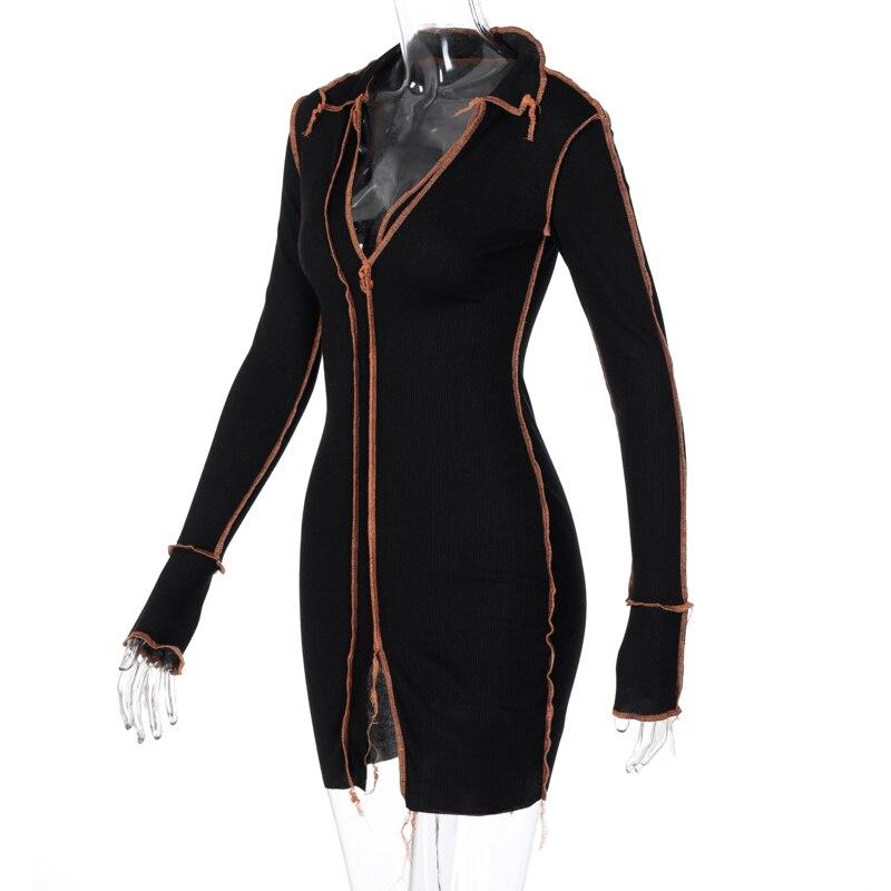 H4459d9d5134645ba8443a1bcd7fd9620W - Hugcitar 2020 Long Sleeve Patchwork Sexy Mini Dress Autumn Winter Women Fashion Streetwear Outfits Clit Club Y2K Clothing