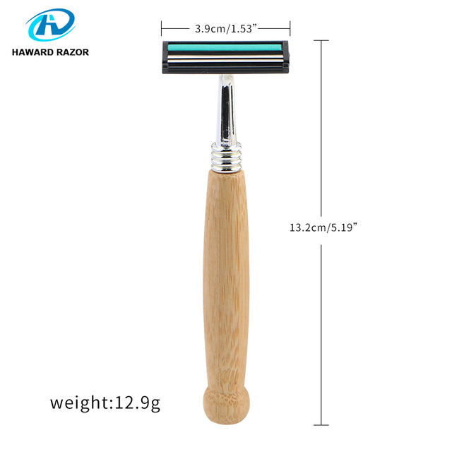 HAWARD Razor Eco Friendly Bamboo Handle Twin Blade Razor Hair Removal Travel Razor Replaceable Razor Head Blade Cartridge 3