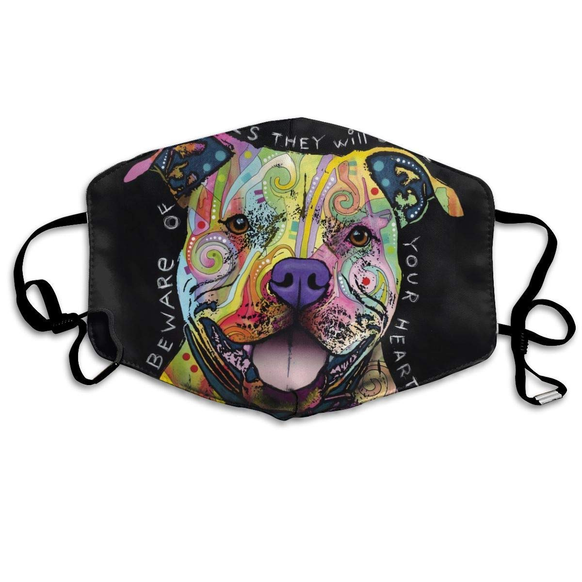 Women Men Teens Washable Reusable Face Masks With Elastic Ear Loop,   Anti Dust Pollution Face Mask (FaceTi Pit Bull Dog)